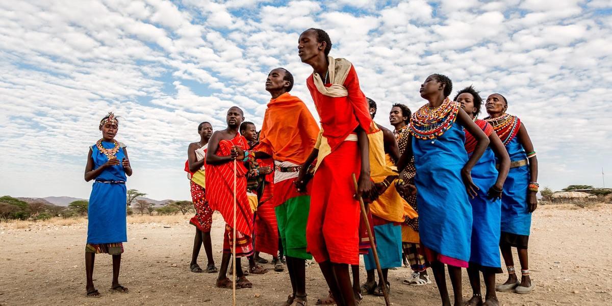 Samburu living near the Shaba reserve dance for guests