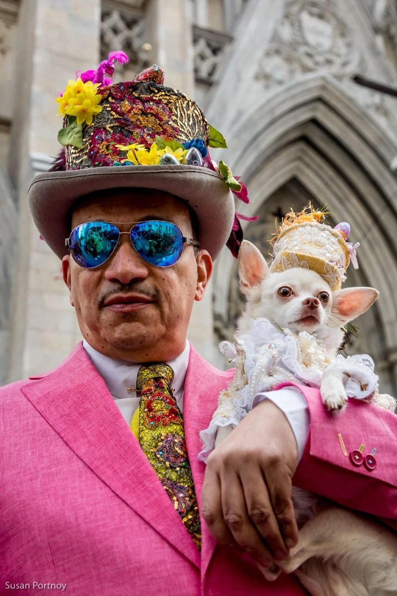 Man and dog dressed in pink costumes at the Easter Parade NYC in 2016