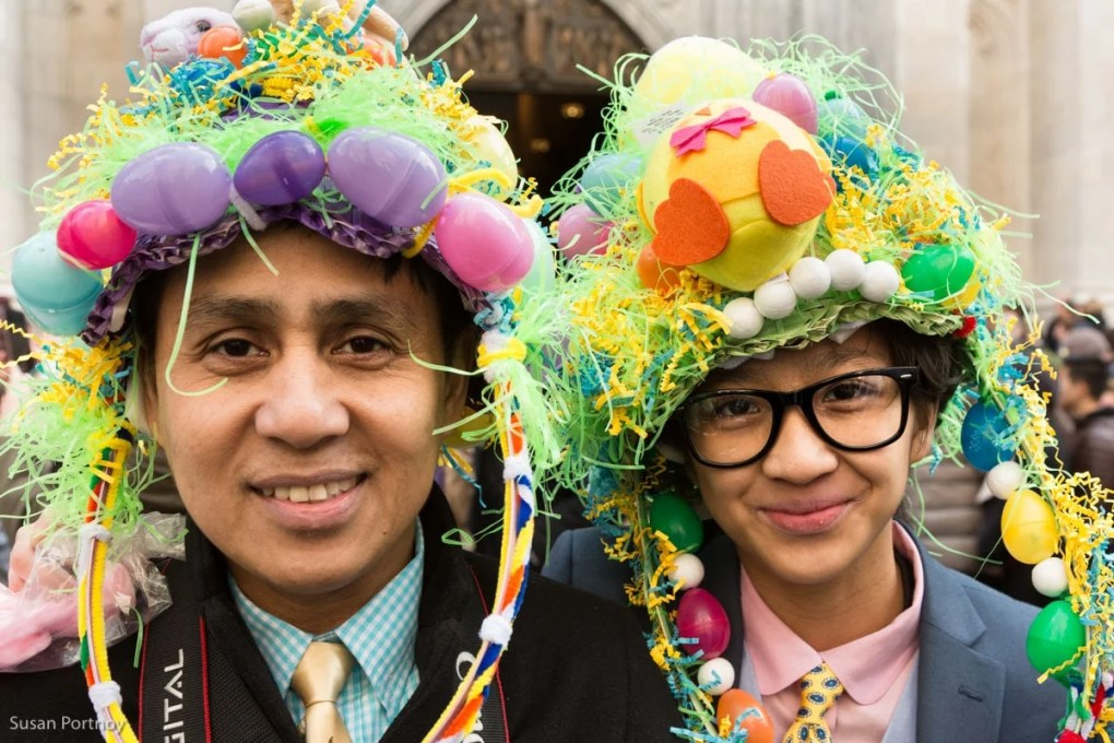 Father and son wearing easter hats in the Easter Parade New York City 2016