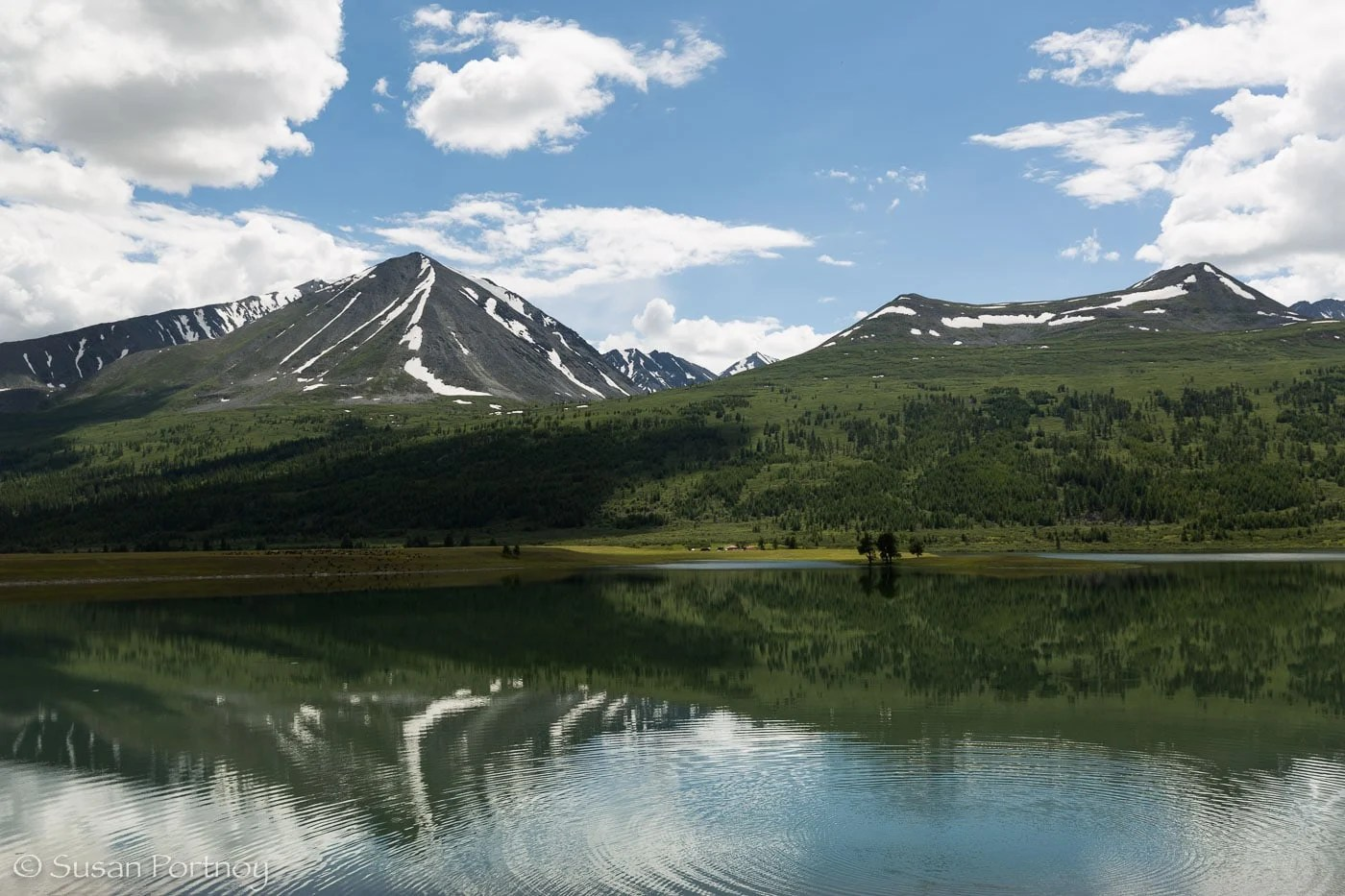 Beautiful mountain landscape and lake in Altai Tavan Bogd National Park, Mongolia