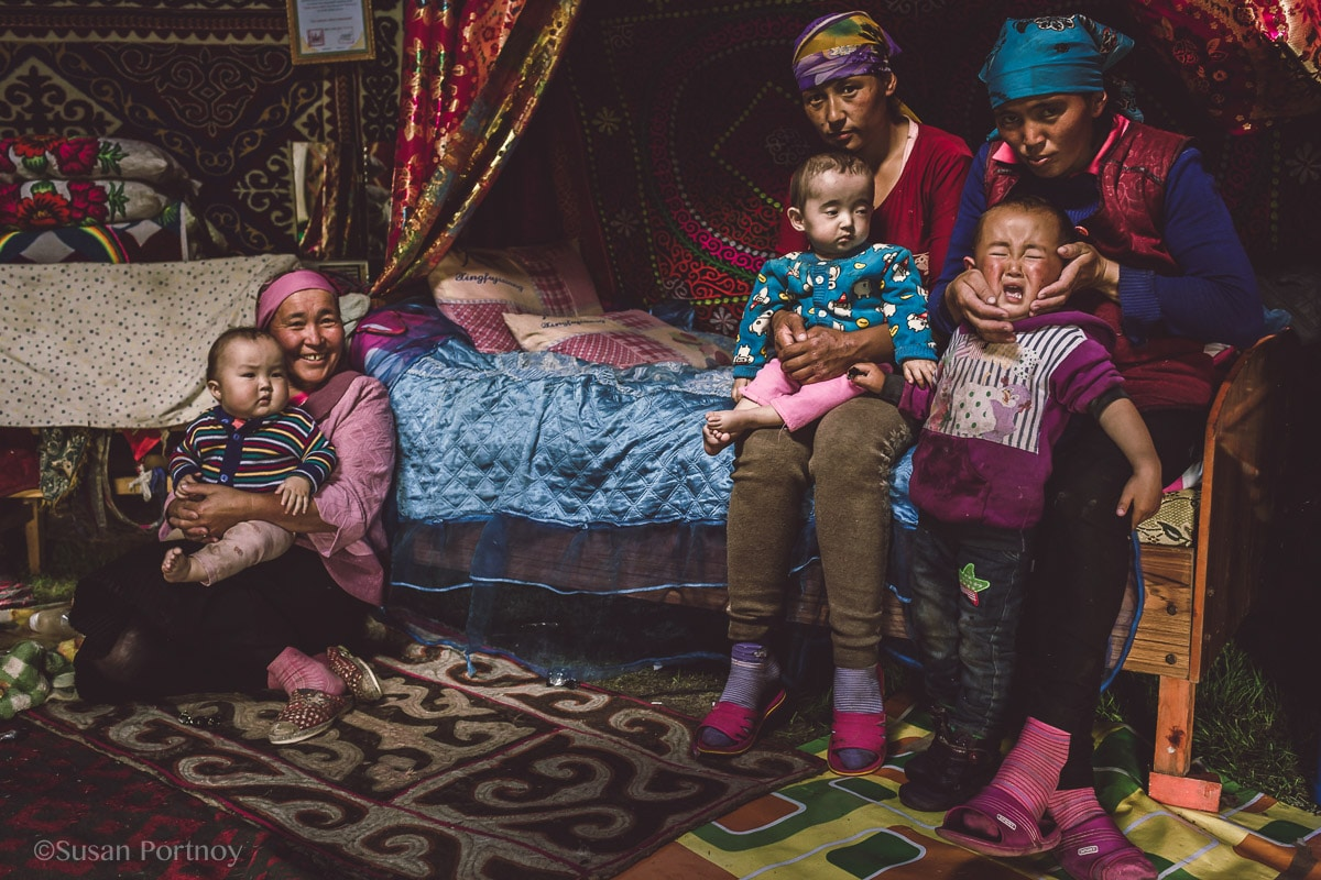 Family portrait with women and children in Mongolia