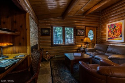 Living room in the Trapper cabin at Triple Creek Resort in Darby, Montana