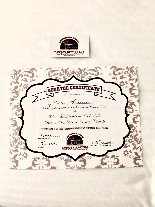 Sourtoe Certificate from the Sourdough Saloon in Dawson, City