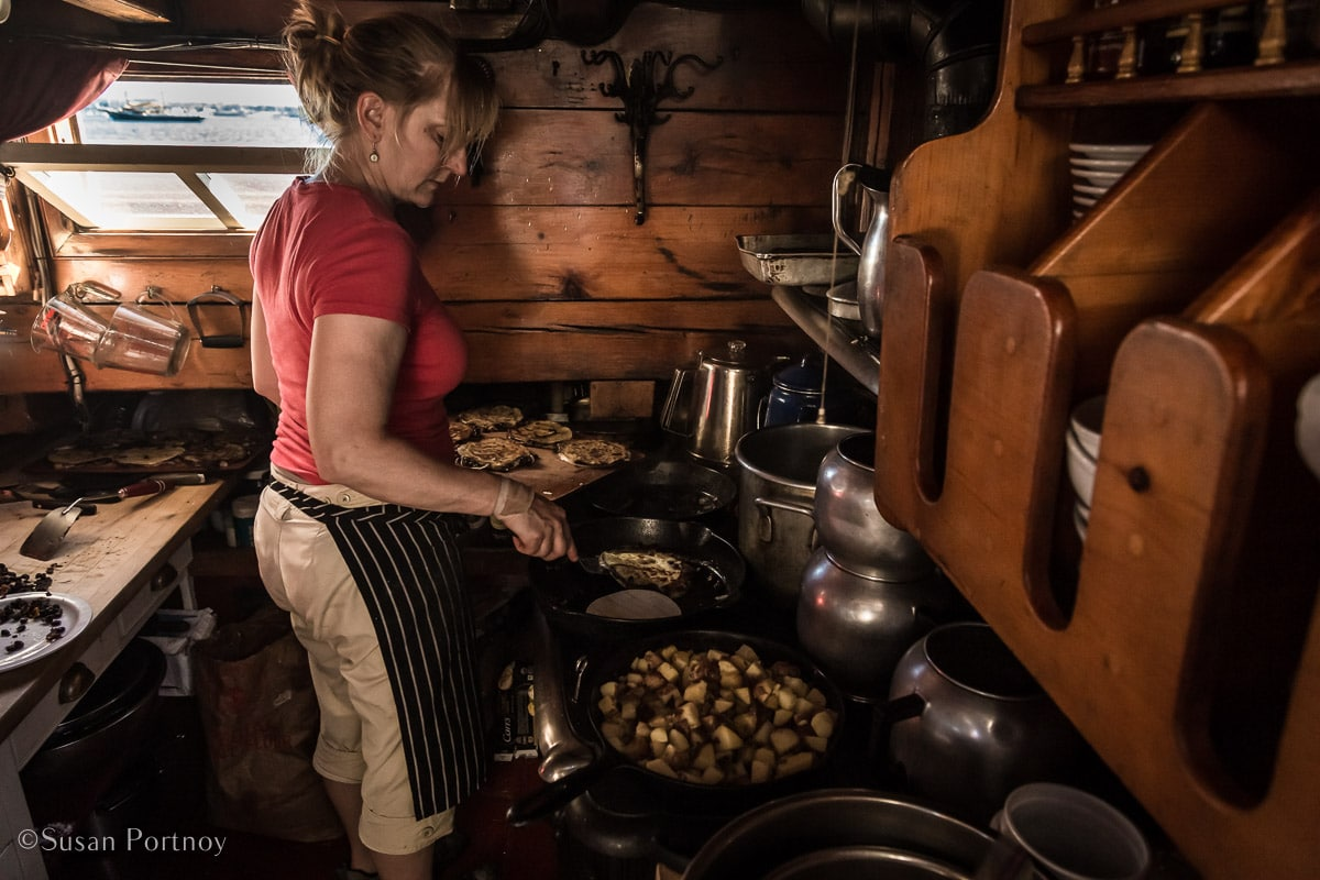 Annie Mahle cooks on the J & E Riggin - Windjammer cruise in Maine-726020180707