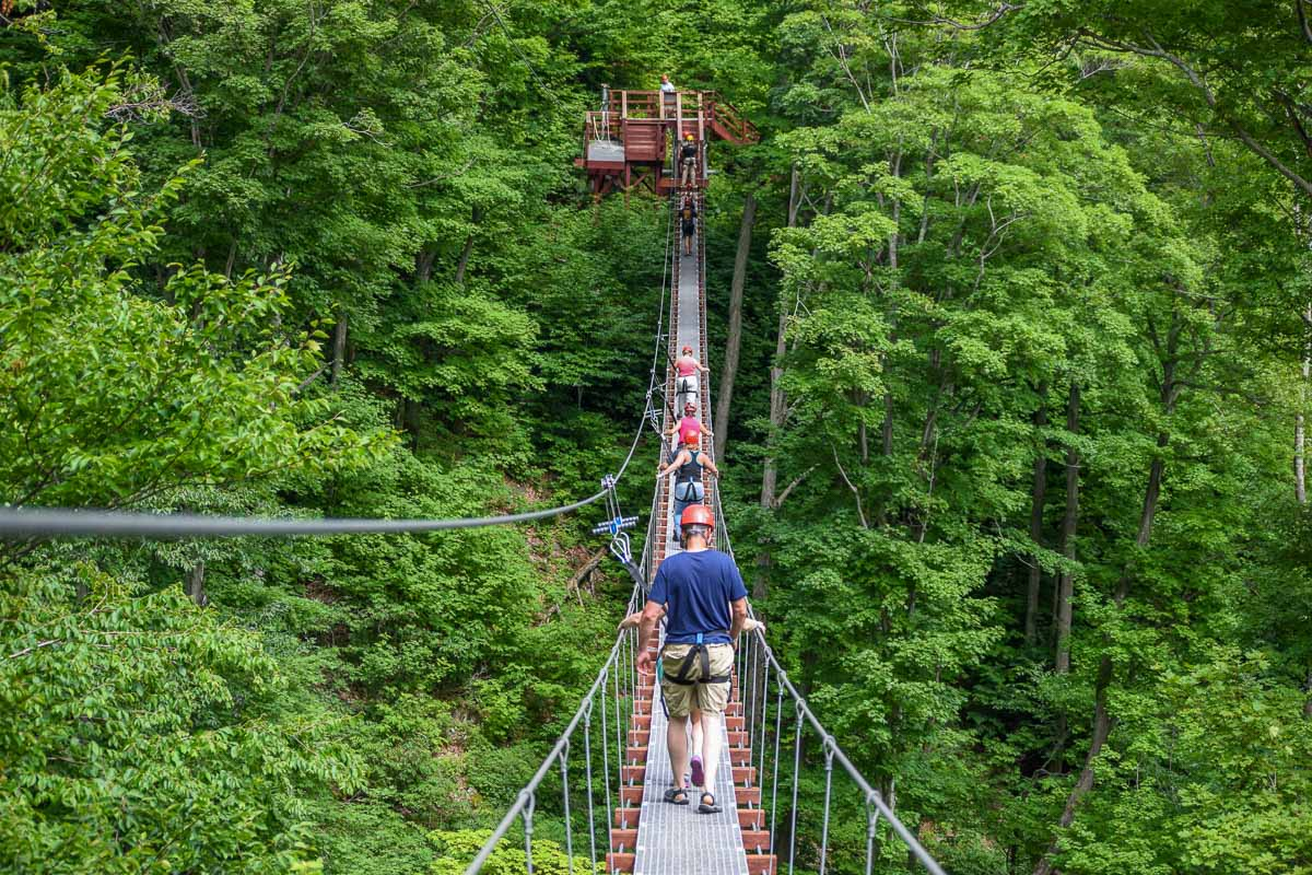 Walking the Burma bridge on Hunter Mountain