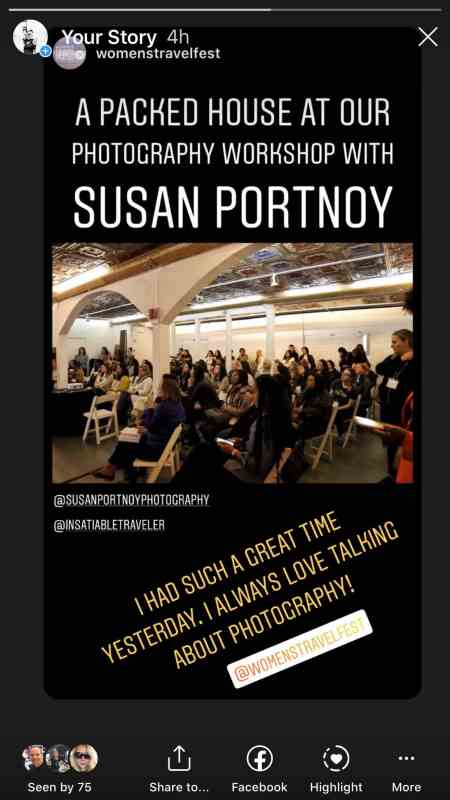 Women's Travel Fest Post on IG stories about Susan Portnoy's talk on Photography