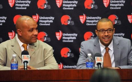 Cleveland Browns coach Hue Jackson and GM Sashi Brown
