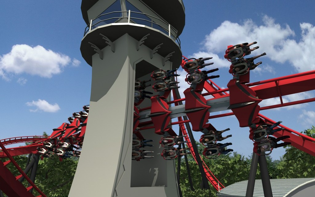 x-flight wing coaster at Six Flags