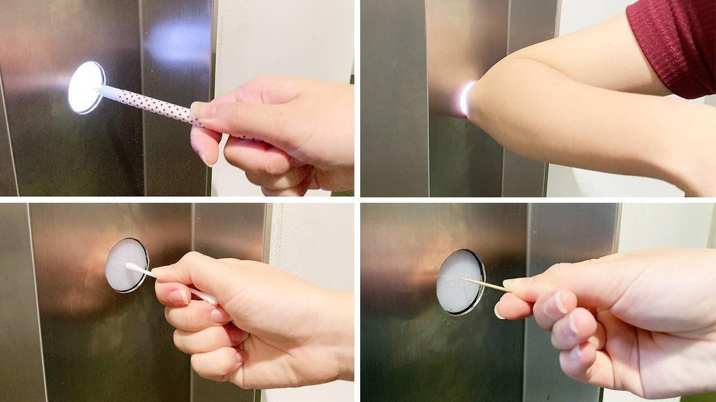 Use Clothe to Press the button of Elevator