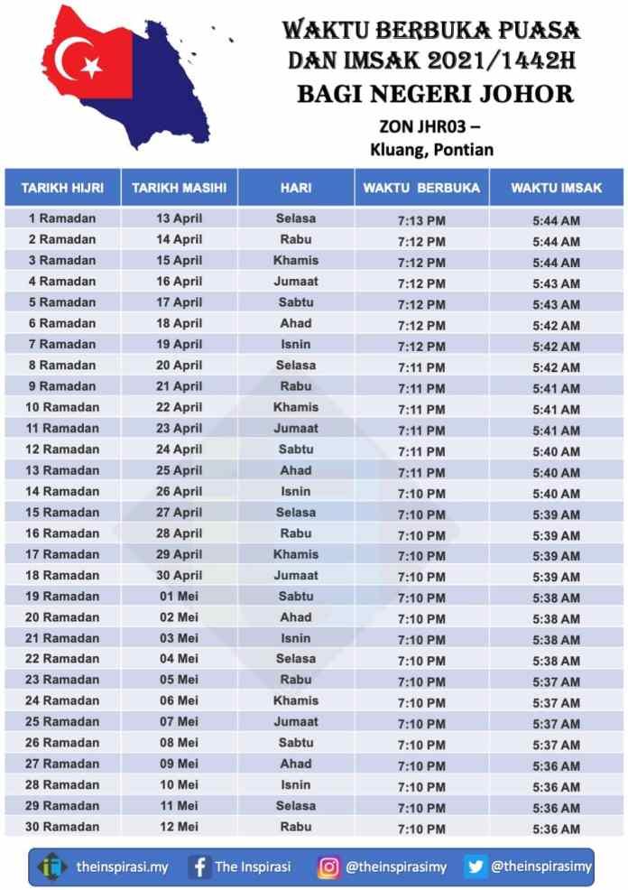 Johor Zon 3- Waktu Berbuka Puasa dan Imsak 2021