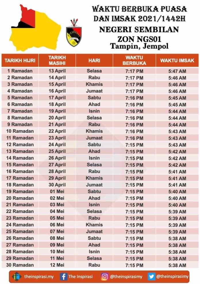 Tampin, Jempol - Waktu Berbuka Puasa dan Imsak 2021