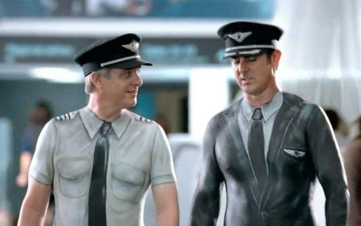 Air New Zealand pilots wearing body paint
