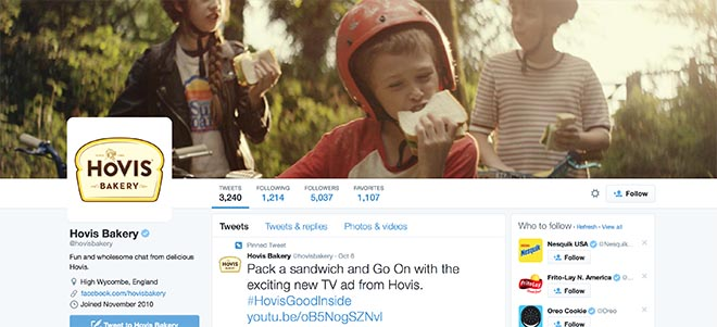 Hovis Good Inside Stuck commercial featured on Hovis Bakery Twitter page