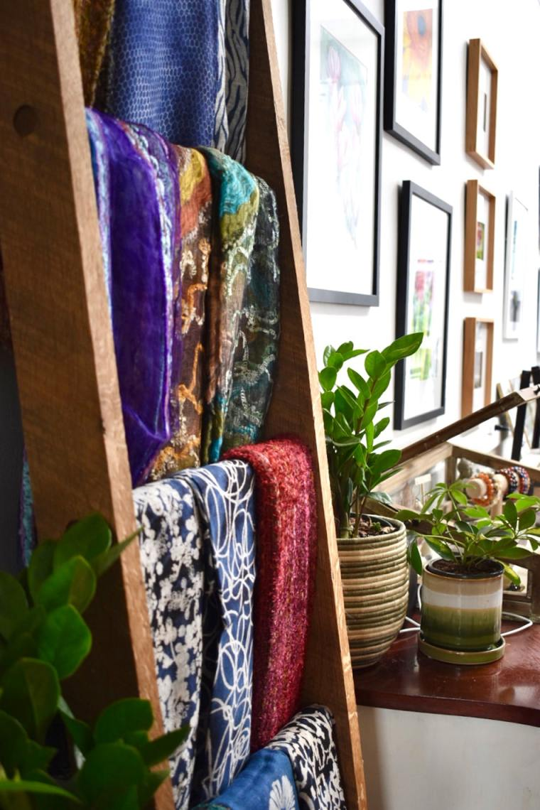 textiles and plants on display at The Inspired Garden Studio in Maplewood