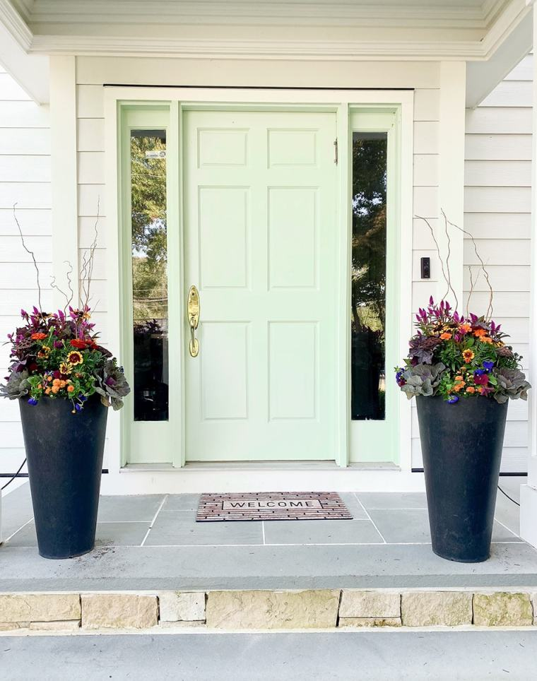 fall container example on front porch