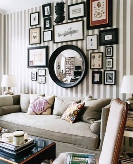 Accent Walls Living Room Gallery Statement Wall Gray And White Striped  Wallpaper Large Round Mirror Neutral Part 88