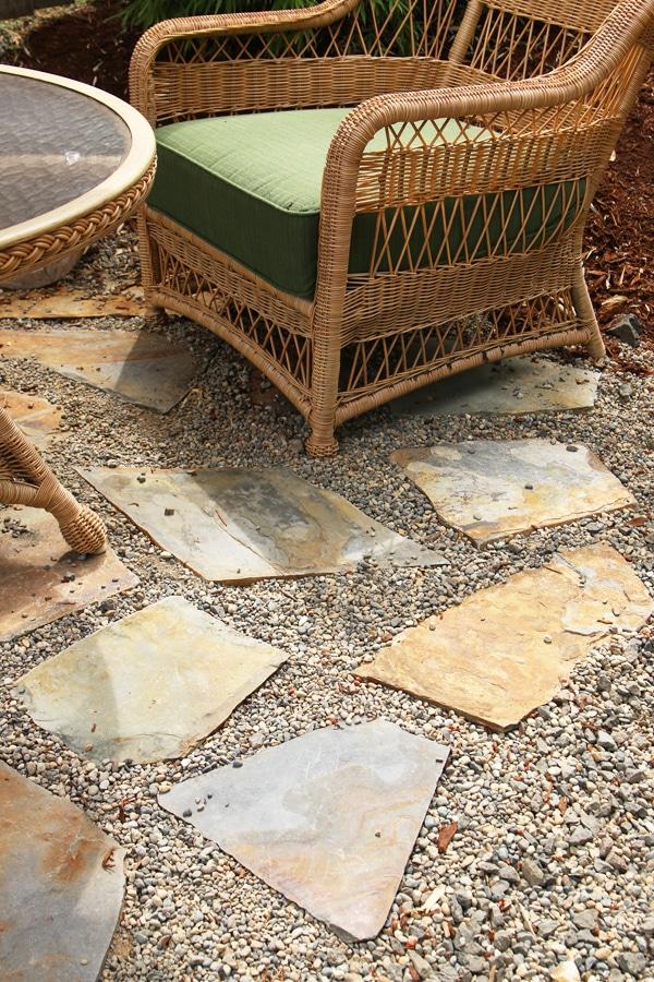 My Backyard Tour {Pea Gravel Patios, Flagstone & Secret ... on Flagstone Backyard Patio id=22781
