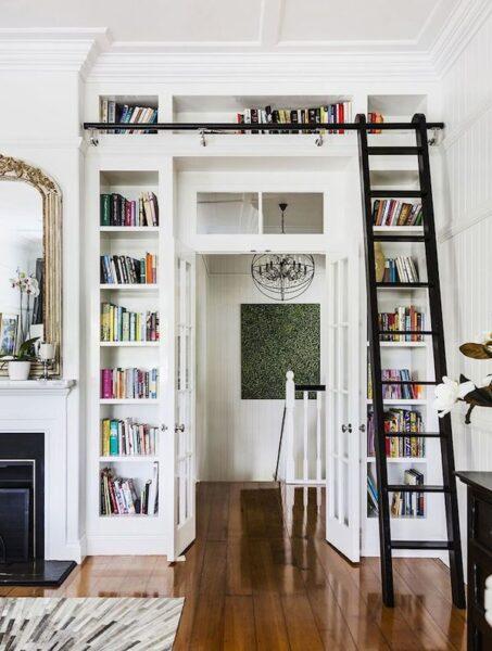 Built In Bookshelves Around Doorway