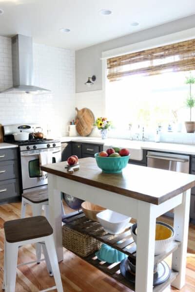 The Inspired Room Kitchen - DIY Wood Island