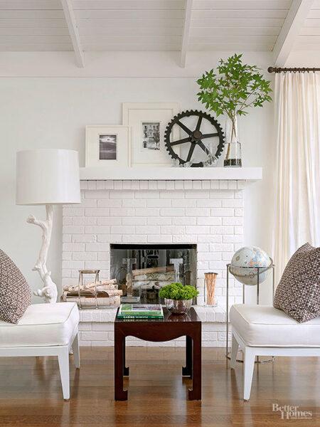 White Brick Fireplace with Mantel