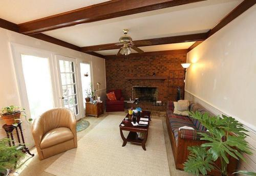 outdated cary colonial house flip living room before