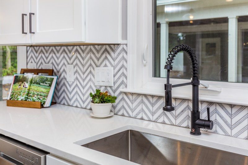 modern kitchen grey herringbone pattern chevron marble quartz