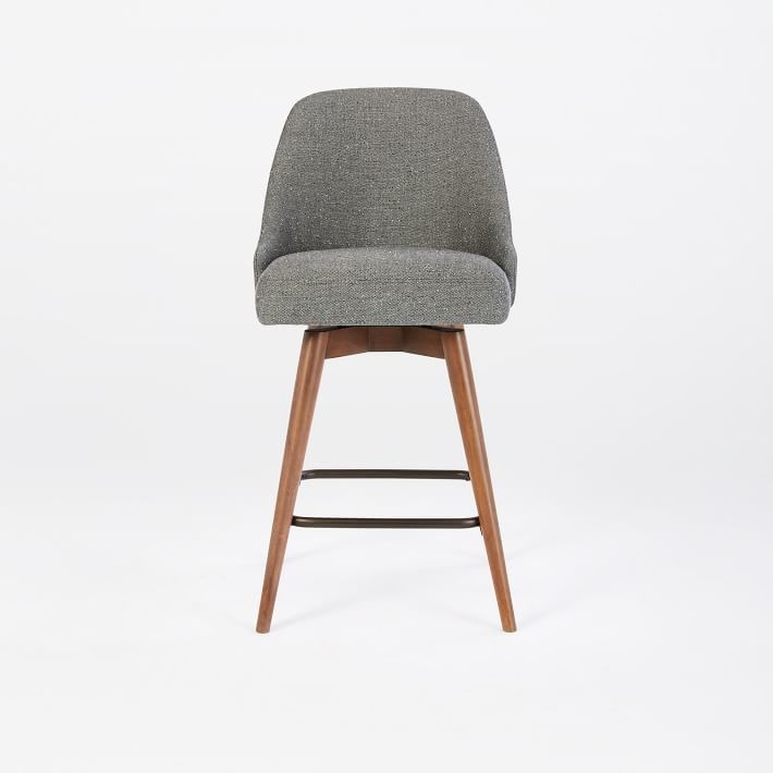 heathered grey stool with pecan modern legs an example of home office seating