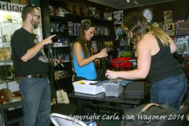 Bryan Keith Davis, Laura Davis and Jessica Jerrain set up microphones for the Chastity Bite's podcast round table prior to the Chastity Bites DVD signing at Dark Delicacies in Burbank, CA on Feb. 16, 2014. Photo/Carla Van Wagoner-The IntelleXual