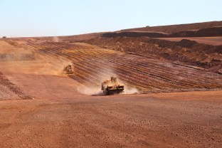 Vermeer surface miners attacking the iron ore at FMG's Christmas Creek mine in the Pilbara. Copyright: The Intelligent Miner