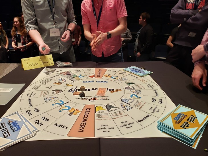 Educational activities should be fun. Pictured is the Mine Opportunity game that MMTS volunteers developed to engage people with the concept of mining. Image: MMTS