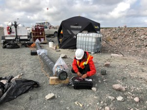 The research team from UBC setting up the Gahcho Kué field trial experiments. Image: Alison Shaw/De Beers