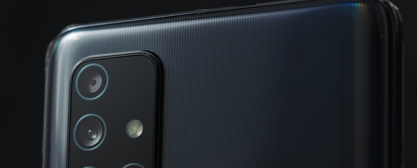 The back of a black smart phone
