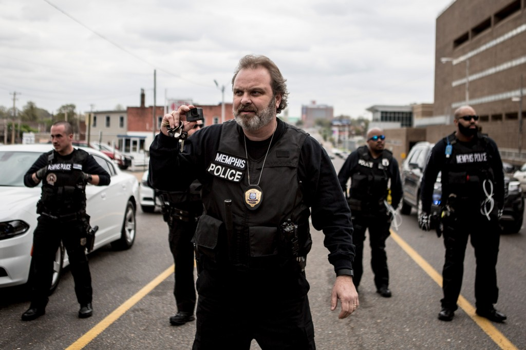 April 3, 2018 - Memphis, TN: The Memphis Police Department approaches the protest that was part of the Rolling Block Party while warning people that they had no permit to protest outside of 201 Poplar.Photo by Andrea Morales.