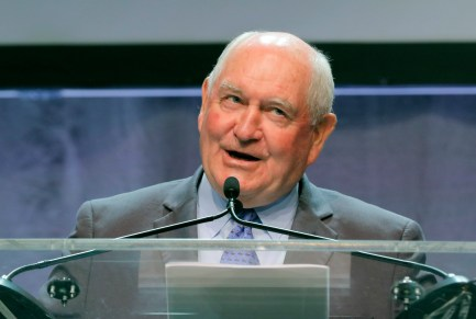 Secretary of Agriculture Sonny Perdue addressed the School Nutrition Association convention at the Georgia World Congress Center Wednesday, July 12, 2017, in Atlanta. The former Georgia governor spoke about his decision to relax requirements spearheaded by the Obama administration. (Bob Andres/Atlanta Journal-Constitution via AP)