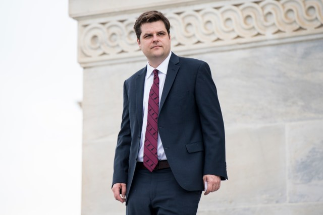 UNITED STATES - MAY 10: Rep. Matt Gaetz, R-Fla., walks down the House steps of the Capitol following the final votes of the week on Thursday, May 10, 2018. (Photo By Bill Clark/CQ Roll Call) (CQ Roll Call via AP Images)