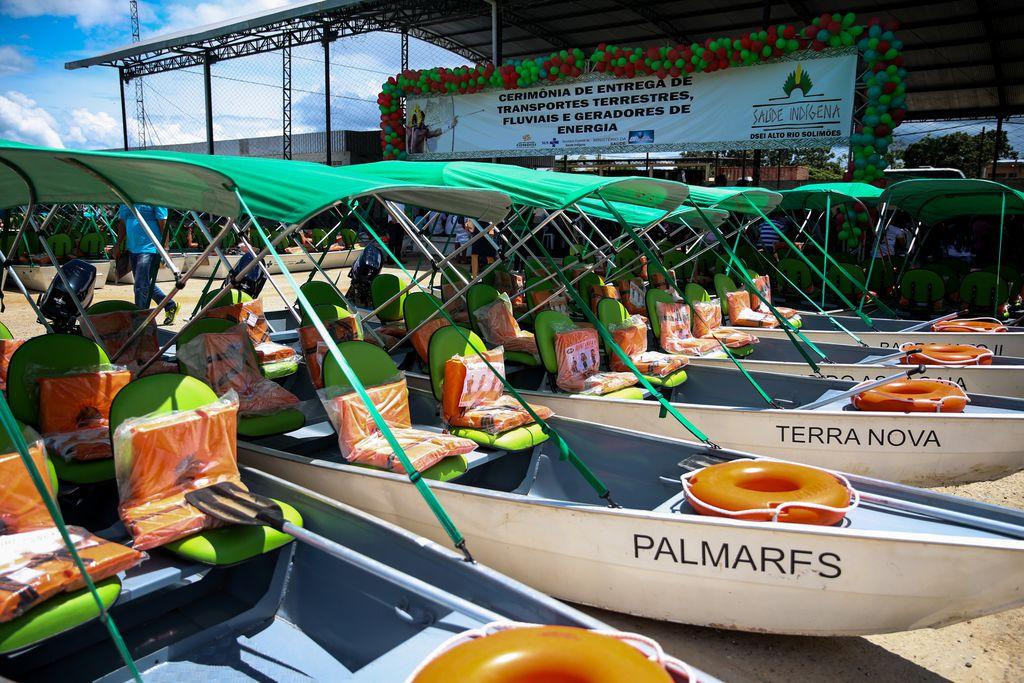 Tabatinga (AM) - Ministério da Saúde entrega embarcações para ampliar a assistência à saúde em aldeias da região do Distrito Sanitário Especial Indígena do Alto Rio Solimões (José Cruz/Agência Brasil)