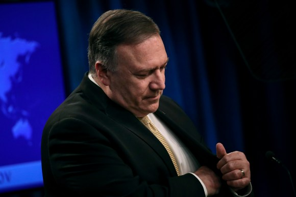 WASHINGTON, DC - NOVEMBER 18: U.S. Secretary of State Mike Pompeo pauses while speaking during a press conference at the U.S. Department of State on November 18, 2019 in Washington, DC.  Pompeo announced that the Trump administration does not consider Israeli settlements in the West Bank a violation of international law. Pompeo also spoke about protests in Iran, Iraq and Hong Kong. (Photo by Drew Angerer/Getty Images)
