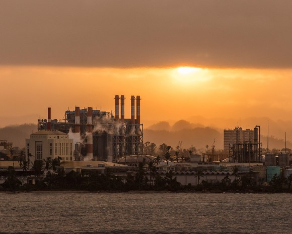 The Palo Seco Power Plant seen from across the bay of San Juan. This power plant was decommissioned 6months before Hurricane Maria hit the island. Its rehabilitation has come under scrutiny because it was contracted out to private parties. Local power workers argued that while outdated the plant could still be activated to power areas near the San Juan metropolitan area instead of relying on lines to be repaired from the main power plants in the south of the island.