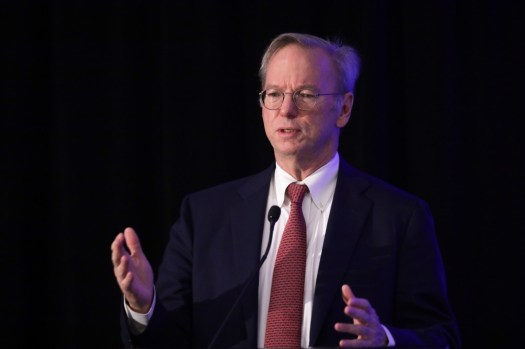 """WASHINGTON, DC - NOVEMBER 05: Executive Chairman of Alphabet Inc., Google's parent company, Eric Schmidt speaks during a National Security Commission on Artificial Intelligence (NSCAI) conference November 5, 2019 in Washington, DC. The commission held a conference on """"Strength Through Innovation: The Future of A.I. and U.S. National Security."""" (Photo by Alex Wong/Getty Images)"""