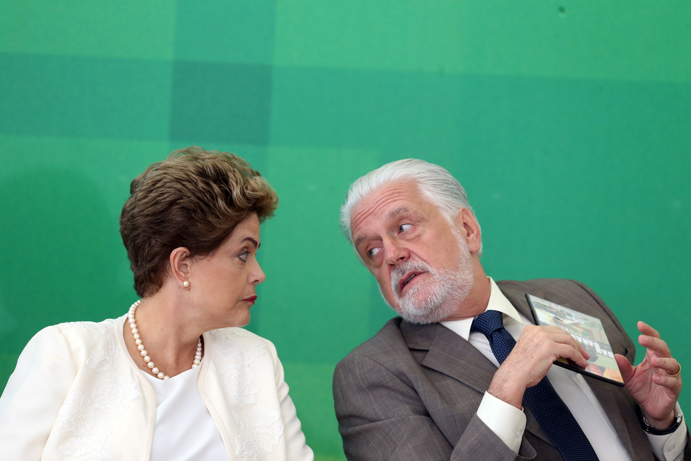 President of Brazil, Dilma Rousseff (L) and the Minister of Governance, Jaques Wagner, commemorative ceremony for the National Black Consciousness Day, at Planalto Palace in Brasilia, capital of Brazil, on November 19, 2015. Photo: ANDRE DUSEK/ESTADAO CONTEUDO (Agencia Estado via AP Images)