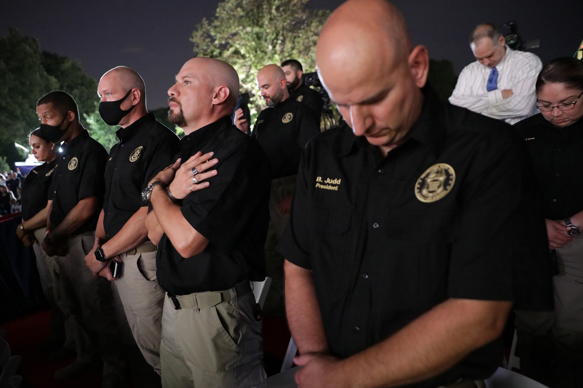 WASHINGTON, DC - AUGUST 27:  Members of the National Border Patrol Council in attendance as U.S. President Donald Trump prepares to deliver his acceptance speech for the Republican presidential nomination on the South Lawn of the White House August 27, 2020 in Washington, DC. Trump gave the speech in front of 1500 invited guests.  (Photo by Chip Somodevilla/Getty Images)