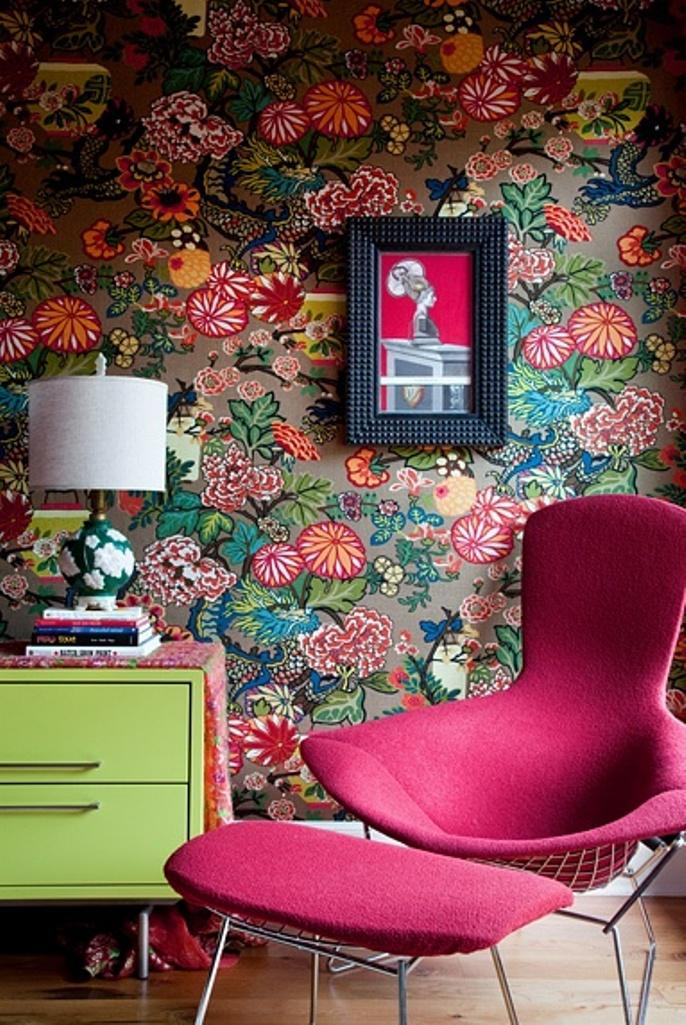 Your Guide To Using Pattern In Your Homes | If you're going for bold pattern pick out the secondary colours in the pattern and use them as a to set the bar for the rest of the room.