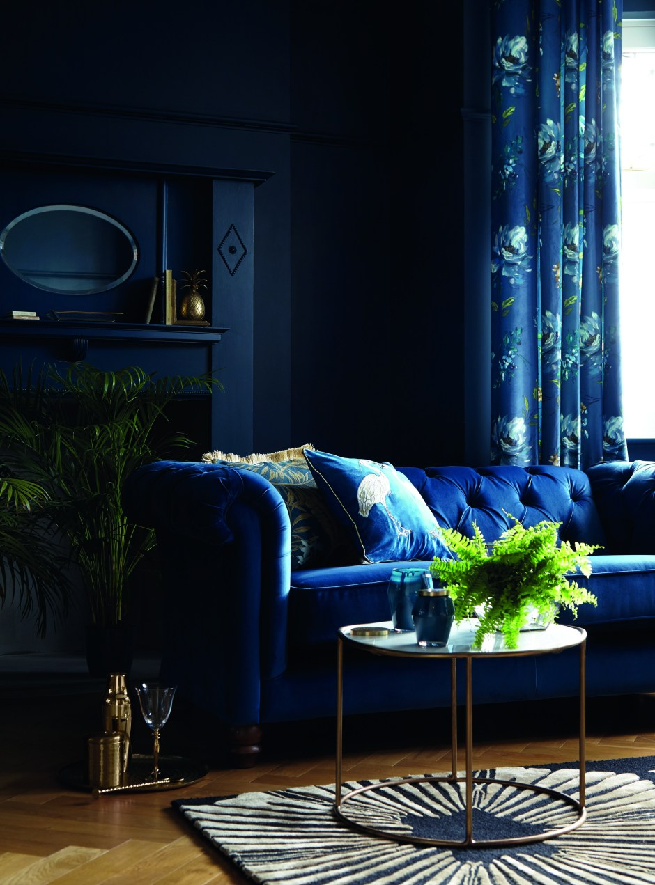 The Beauty of Blue In Your Home & How To Use It | Navy being the darkest blue, provides you with an alternative to black in your homes. It has the same dramatic effect as black especially when applied to your walls. Add touches of metallics and pattern to lift it and create an elegant feel and to stop a room from feeling oppressive.