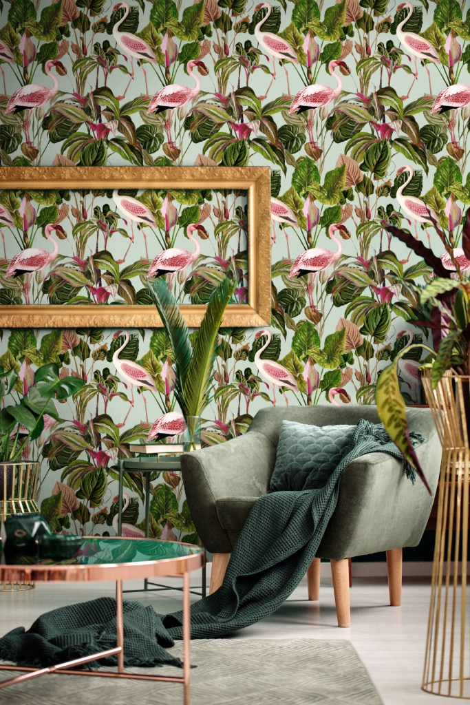 12 Essential Design Tips To Help Update ​Your Home | Decorate with confidence by choosing decor that you'll love. This Beverly Hills Mint Wallpaper is playful and nature inspired and is a fun way to introduce colour and pattern.