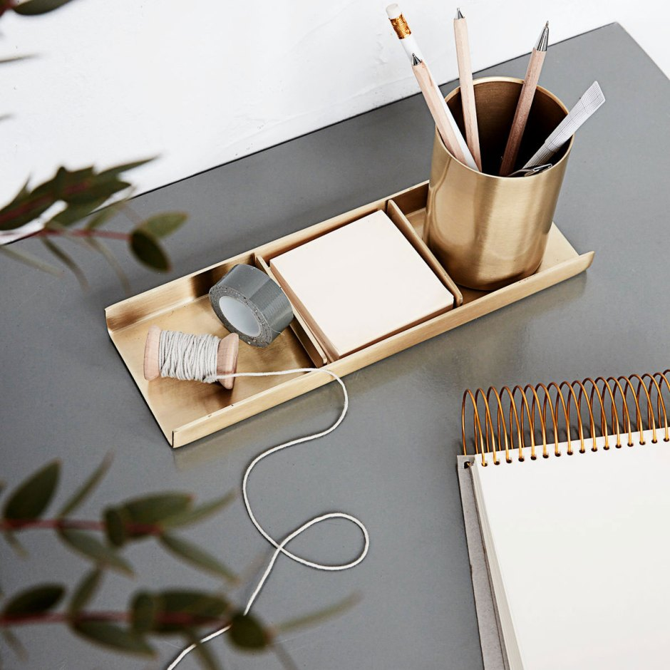 12 Essential Design Tips To Help Update ​Your Home | The smallest of storage solutions can help keep you organised such as this brass stationery organiser from Hurn and Hurn.