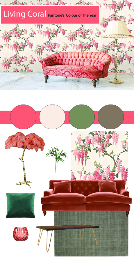 How To Use Living Coral - Pantone's Colour Of The Year 2019 | If you're willing to embrace Living Coral and prefer a more serene calming scheme combine with neutral colours together with earthy browns and soft greens. his fabulous Wisteria wallpaper is set upon a neutral background allowing you to play with Living Coral on a larger scale.  More dominant forms such as a sofa can be considered due to the repeating coral elegant blooms. It's a case of balance and knowing how much of it to introduce. Too much and it might end up looking like a peach palace. Colour trends are something to consider when decorating our homes. They offer us the chance to rethink and assess our decor choices and consider new possibilities.