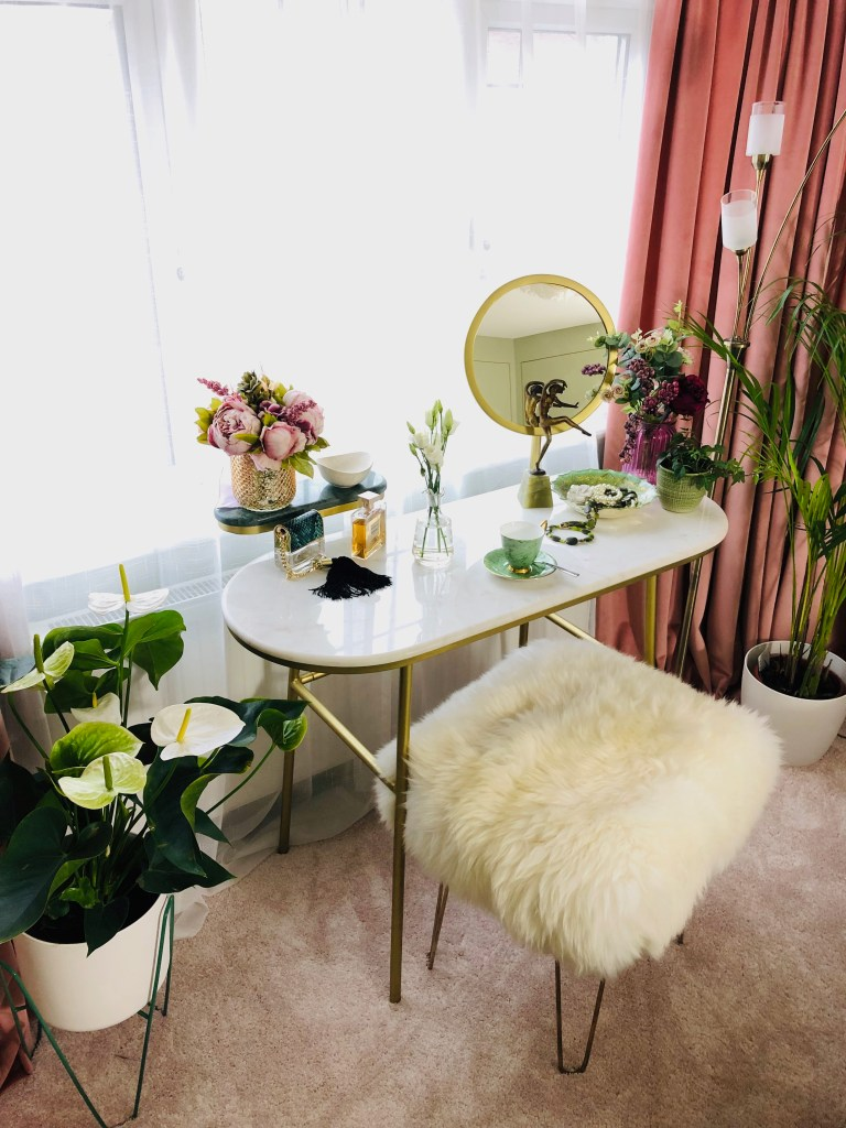 Baa Stool - Handmade Sustainable Sheepskin Designs | Baa Stools Joan Beauty stool making a statement to our dressing table. It's removable luxury sheepskin cover is washable making it practical. The hairpin legs provide a luxury look and feel to these handmade stools.