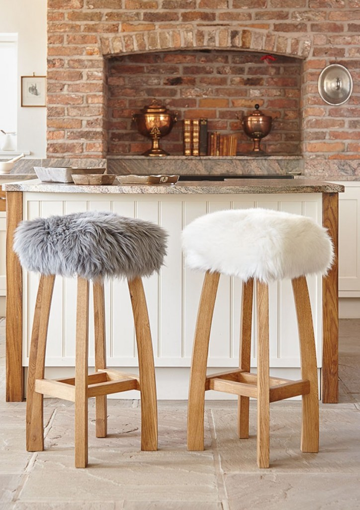 Baa Stool - Handmade Sustainable Sheepskin Designs | Baa Stools kitchen bar stools are handcrafted using sustainable hardwood. They have a practical sheepskin removable cover. Available in an array of 18 colour ways to suit your decor choices.