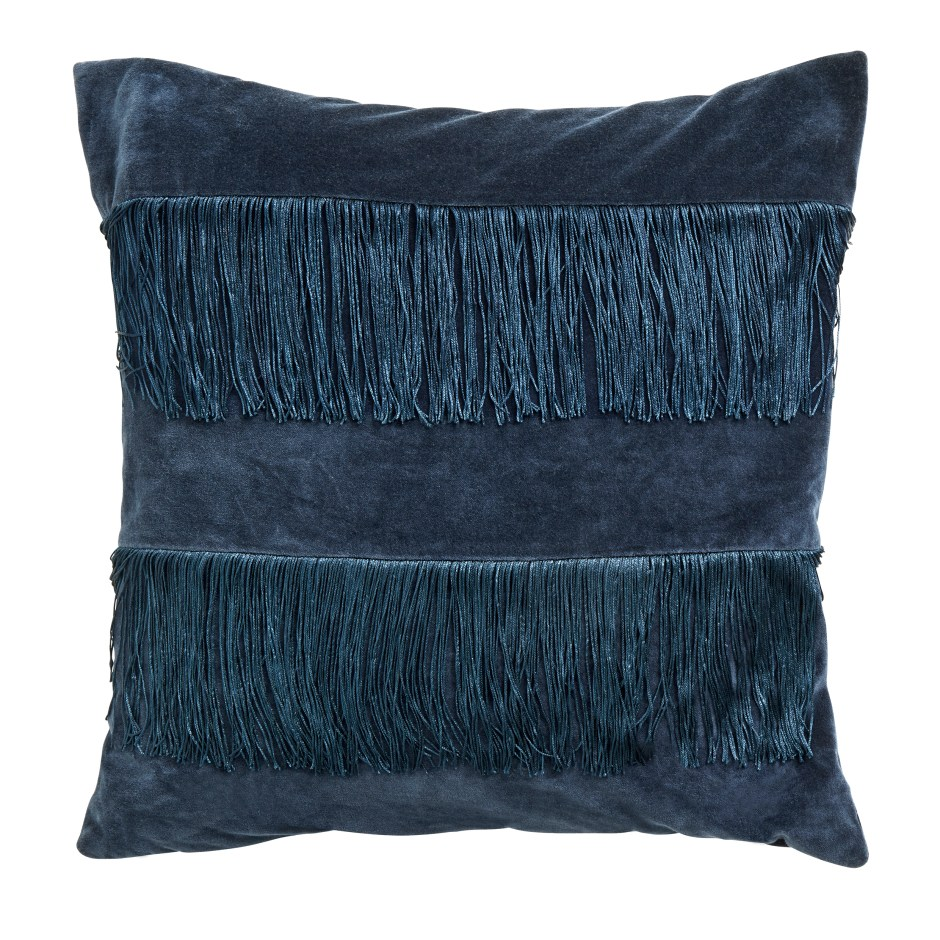 The Fringe Trend For Your Homes | Double layered fringed cushion in blue velvet from Audenza. Great for adding interest and texture to your sofas and chairs.