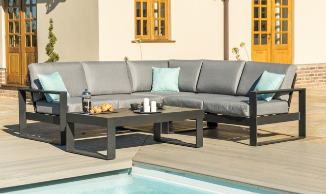 The Latest Garden Furniture From Fishpools | KISSIMMEE - Small Corner Sofa Group with Coffee Table In Black Aluminium Garden Set
